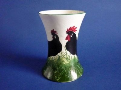 Rare Wemyss Ware 'Black Leghorn Cockerel and Hen' Beaker Vase c1900